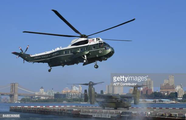 US President Donald Trump arrives on Marine One in New York on September 17 2017 Trump is in New York to address the UN General Assembly for the...