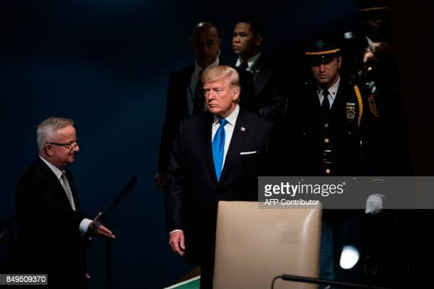 US President Donald Trump arrives to address the 72nd session of the United Nations General Assembly September 19 2017 in New York City / AFP PHOTO /...