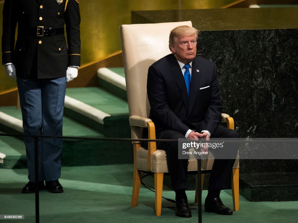 U.S. President Donald Trump arrives to address the United Nations General Assembly at UN headquarters, September 19, 2017 in New York City. Among the issues facing the assembly this year are North Korea's nuclear developement, violence against the Rohingya Muslim minority in Myanmar and the debate over climate change.
