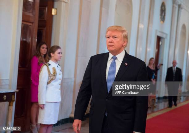 US President Donald Trump arrives to present the Medal of Valor to the first responders of the June 14 shooting against members of the Republican...