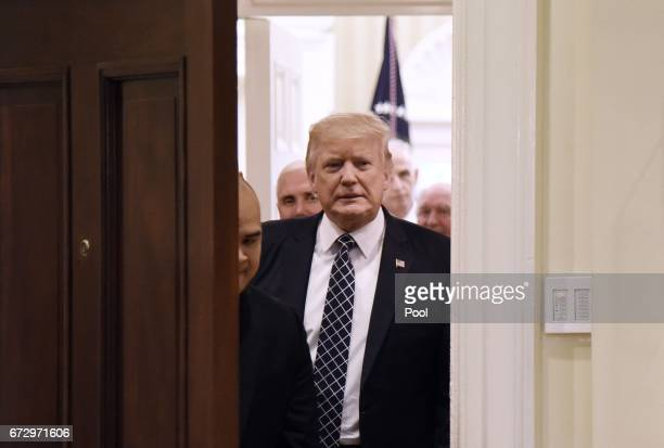 US President Donald Trump arrives to sign the Executive Order Promoting Agriculture and Rural Prosperity in America during a roundtable with farmers...