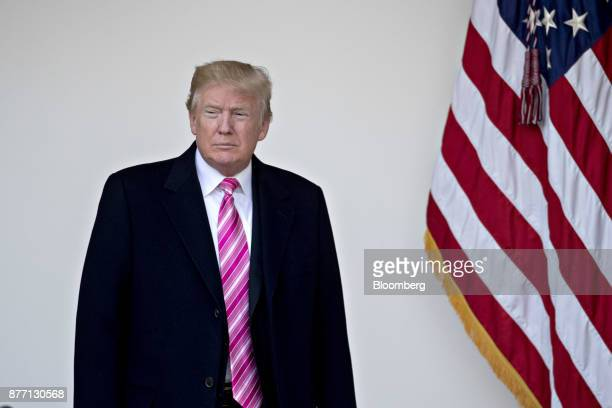 US President Donald Trump arrives to speak before pardoning the National Thanksgiving Turkey Drumstick during a ceremony in the Rose Garden of the...