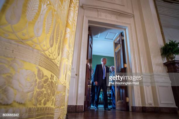 President Donald Trump arrives to speak during a bill signing event for the 'Department of Veterans Affairs Accountability and Whistleblower...