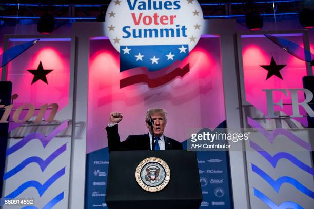US President Donald Trump arrives to speak during the Family Research Council's 2017 Value Voters Summit on October 13 2017 in Washington DC / AFP...