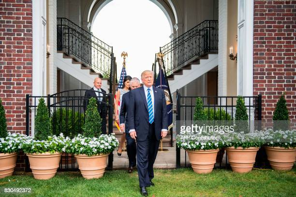 US President Donald Trump arrives to speak to the press with US Secretary of State Rex Tillerson Ambassador to the United Nations Nikki Haley and...