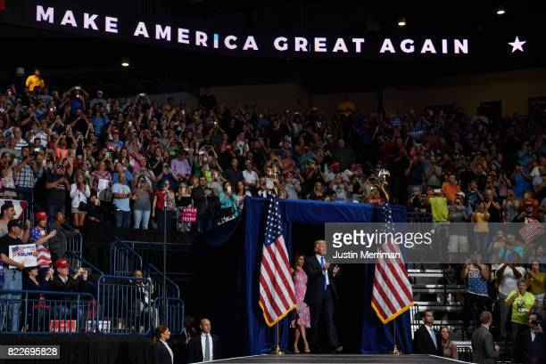 S President Donald Trump arrives with first lady Melania Trump for a rally at the Covelli Centre on July 25 2017 in Youngstown Ohio The rally...