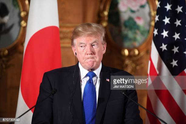 President Donald Trump attends a joint press conference with Japanese Prime Minister Shinzo Abe at Akasaka Palace in Tokyo on November 6 2017 Trump...