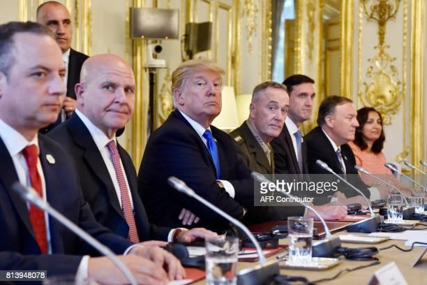 US President Donald Trump attends a meeting with French President at the Elysee Palace in Paris on July 13 during his 24hour trip that coincides with...