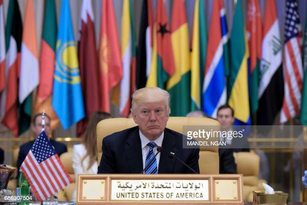 President Donald Trump attends the Arab Islamic American Summit at the King Abdulaziz Conference Center in Riyadh on May 21 2017 Trump tells Muslim...