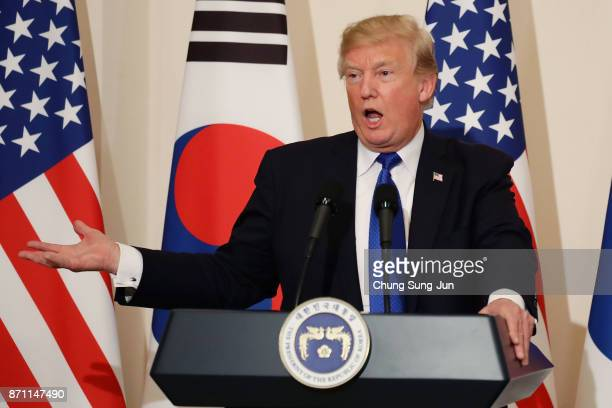 S President Donald Trump attends the joint press conference at the presidential Blue House on November 7 2017 in Seoul South Korea Trump is in South...