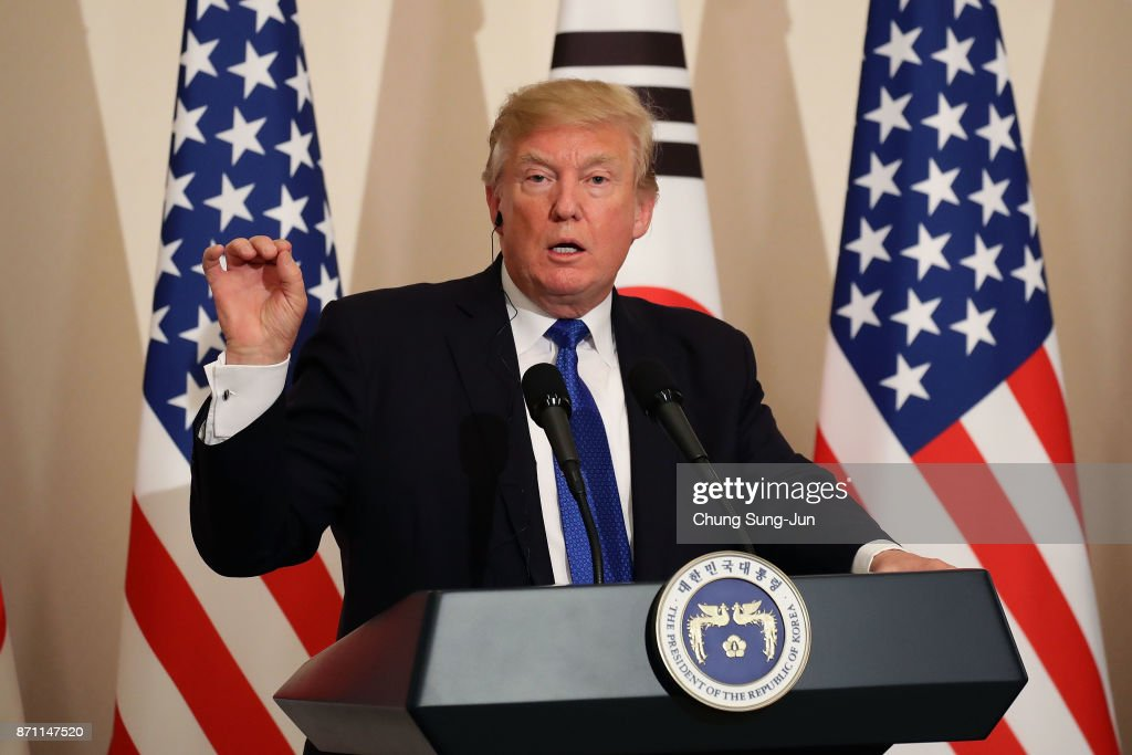 U.S. President Donald Trump attends the joint press conference at the presidential Blue House on November 7, 2017 in Seoul, South Korea. Trump is in South Korea as a part of his Asian tour.