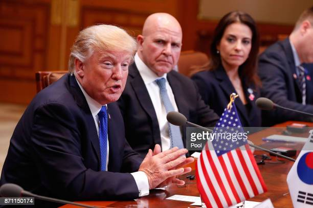 S President Donald Trump attends the presidential summit at the presidential Blue House on November 7 2017 in Seoul South Korea Trump is in South...