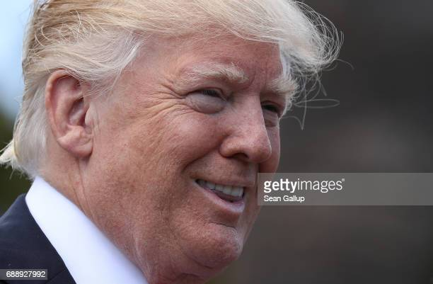 S President Donald Trump attends the second and last day of the G7 Taormina summit on the island of Sicily on May 27 2017 in Taormina Italy Leaders...
