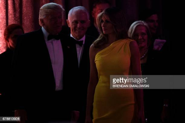 US President Donald Trump Australian Prime Minister Malcolm Turnbull US Vice President Mike Pence and Lucy Turnbull arrive for a dinner to...