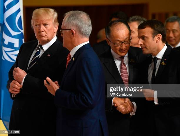 US President Donald Trump Australia's Prime Minister Malcolm Turnbull the President of the World Bank Group Jim Yong Kim and French President...