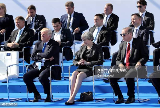 President Donald Trump British Prime Minister Theresa May and Turkish President Recep Tayyip Erdogan are pictured ahead of a photo opportunity of...