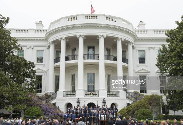 US President Donald Trump center speaks during a welcoming ceremony the New England Patriots football team on the South Lawn of the White House in...