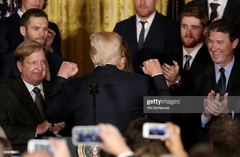 U.S. President Donald Trump congratulates the National Hockey League champion Pittsburgh Penguins during an event honoring the team in the East Room of the White House October 10, 2017 in Washington, DC. The Penguins defeated the Nashville Predators in the 2017 NHL Finals, the fifth time the franchise has won the Stanley Cup.