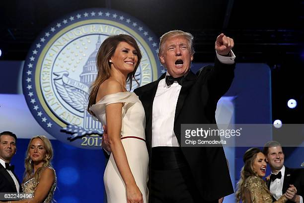 S President Donald Trump dances with first lady Melania Trump during the inaugural Freedom Ball at the Washington Convention Center January 20 2017...