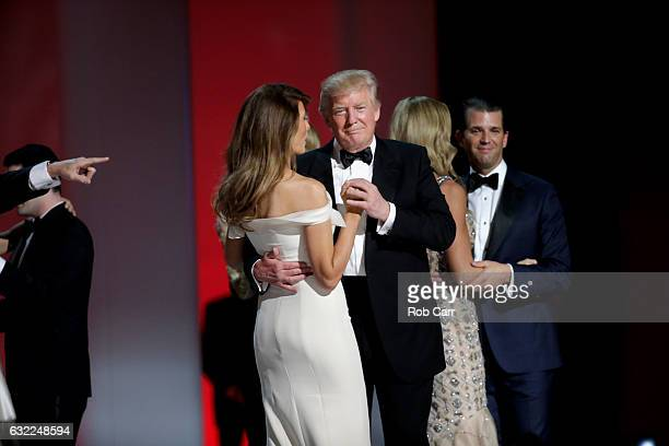 President Donald Trump dances with wife Melania Trump at the Liberty Inaugural Ball on January 20 2017 in Washington DC The Liberty Ball is the first...
