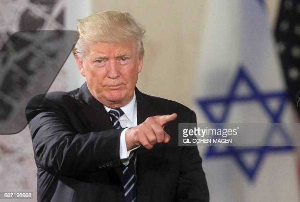 US President Donald Trump delivers a speech at the Israel Museum in Jerusalem on May 23 2017 / AFP PHOTO / GIL COHENMAGEN