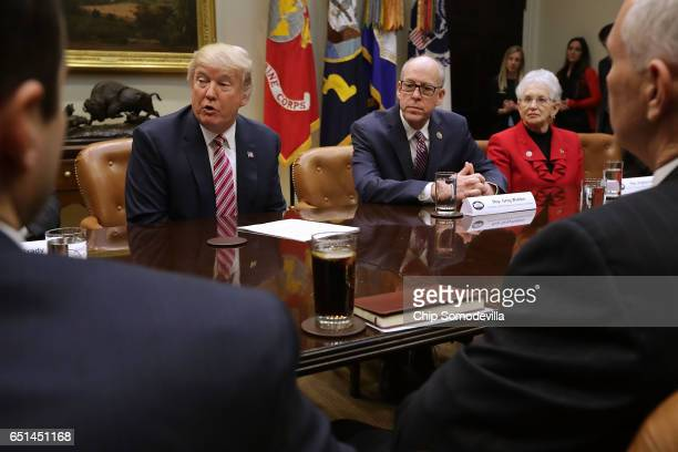 S President Donald Trump delivers brief remarks before meeting with House of Representatives committee leaders including Energy and Commerce...