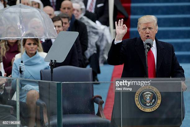 President Donald Trump delivers his inaugural address on the West Front of the US Capitol on January 20 2017 in Washington DC In today's inauguration...