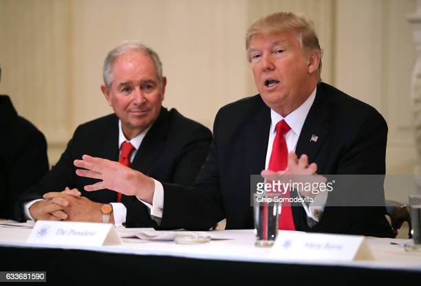 S President Donald Trump delivers opening remarks at the beginning of a policy forum with business leaders chaired by Blackstone Group CEO Stephen...