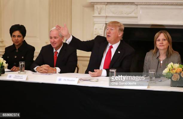 S President Donald Trump delivers opening remarks at the beginning of a policy forum with PepsiCo CEO Indra Nooyi Blackstone Group Chairman and CEO...
