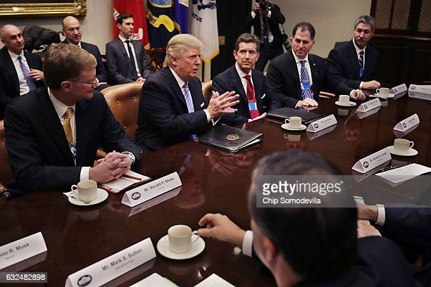 S President Donald Trump delivers opening remarks during a meeting with Wendell Weeks of Corning Alex Gorsky of Johnson Johnson Michael Dell of Dell...