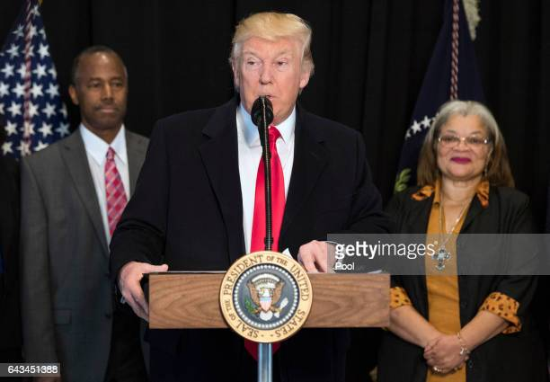 President Donald Trump delivers remarks after touring the Smithsonian National Museum of African American History Culture on February 21 2017 in...