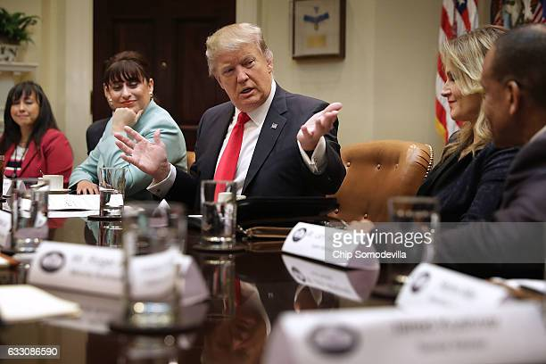 S President Donald Trump delivers remarks at the beginning of a meeting with Jennifer Korn El Sombrero Mexican Bistro owner Irma Aguirre Joy...