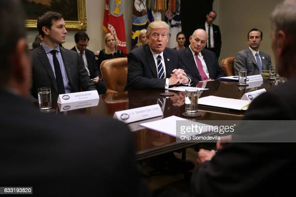 S President Donald Trump delivers remarks at the beginning of a meeting with Senior Advisor Jared Kushner Homeland Security Secretary John Kelly...