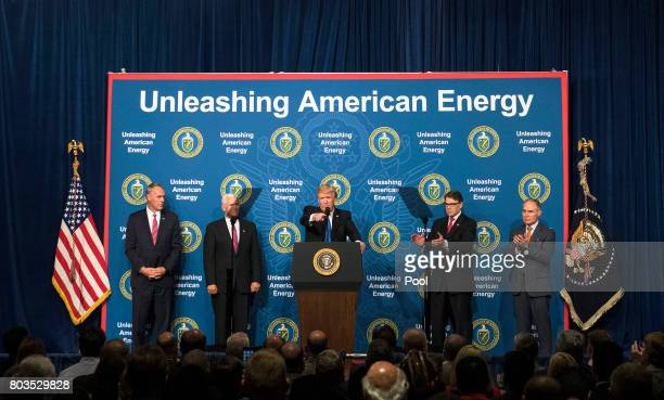 US President Donald Trump delivers remarks at the Unleashing American Energy event at the Department of Energy on June 29 2017 in Washington DC Trump...