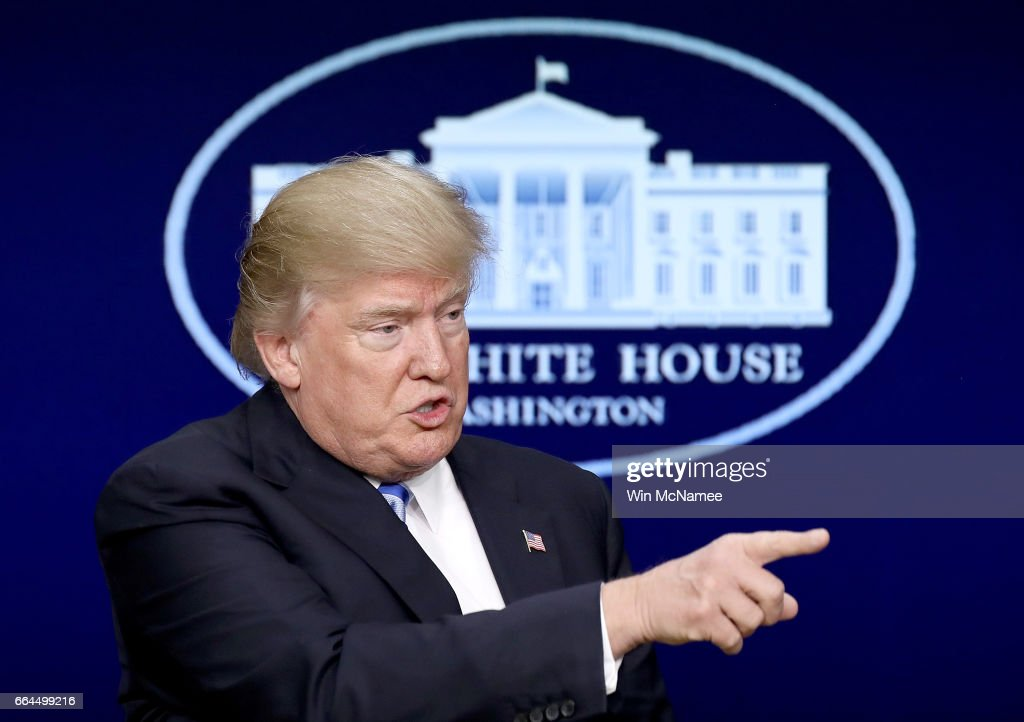 U.S. President Donald Trump delivers remarks during an event at the Eisenhower Executive Office Building April 4, 2017 in Washington, DC. Trump delivered remarks and answered questions from the audience during a town hall event with CEO's on the American business climate.