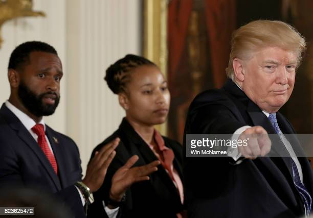 S President Donald Trump delivers remarks during an event in the East Room of the White House recognizing the first responders to the June 14...