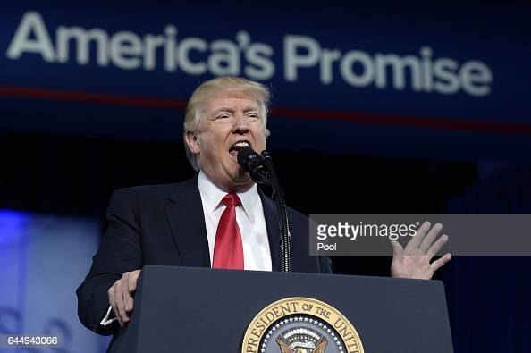 US President Donald Trump delivers remarks to the Conservative Political Action Conference on February 24 2017 in National Harbor Maryland Hosted by...