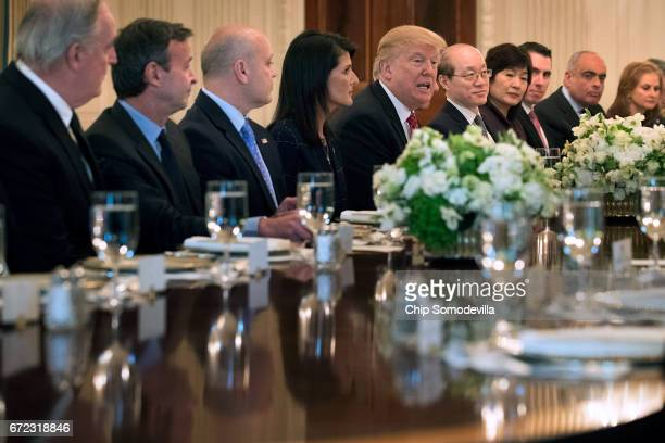S President Donald Trump delivers remarks while hosting ambassadors from the 15 country members of the United Nations Security Council with his...
