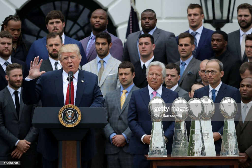 U.S. President Donald Trump delivers remarks while hosting the New England Patriots and team owner Robert Kraft during a celebration of the team's Super Bowl victory on the South Lawn at the White House April 19, 2017 in Washington, DC. It was the team's fifth Super Bowl victory since 1960.