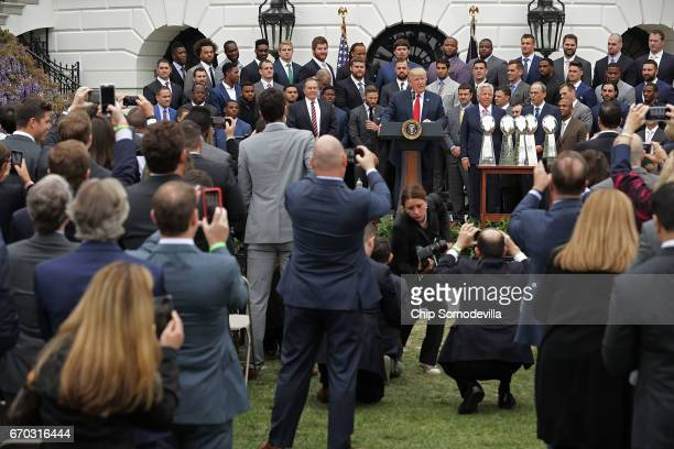 S President Donald Trump delivers remarks while hosting the New England Patriots and team owner Robert Kraft during a celebration of the team's Super...