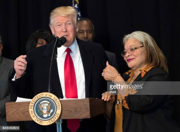 President Donald Trump delivers remarks with Alveda King niece of Martin Luther King Jr after touring the Smithsonian National Museum of African...