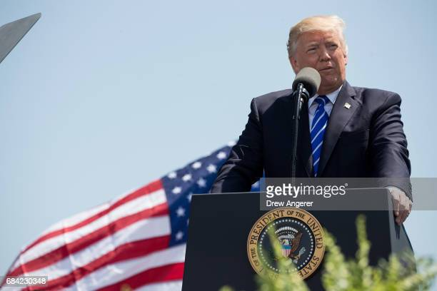President Donald Trump delivers the commencement address at the commencement ceremony at the US Coast Guard Academy May 17 2017 in New London...