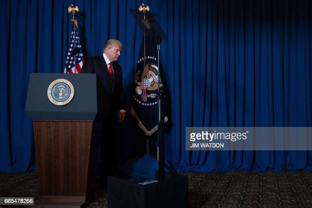 US President Donald Trump departs after delivering a statement on Syria from the MaraLago estate in West Palm Beach Florida April 6 2017 Trump...