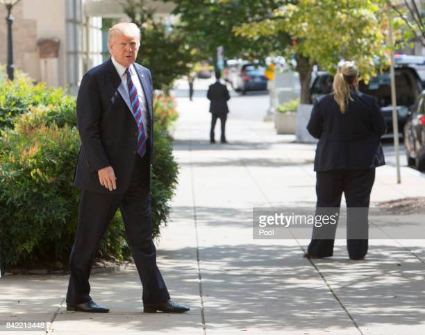 US President Donald Trump departs St John's Church on September 3 2017 in Washington DC Earlier this week Trump signed a proclamation to declare...