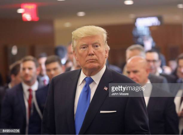 S President Donald Trump departs the United Nations after his speech on September 19 2017 in New York City He addressed his first UN General Assembly...