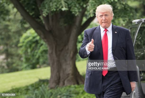 US President Donald Trump departs the White House for Harrisburg Pennsylvania where he will hold a rally on the 100th day of his presidency on April...