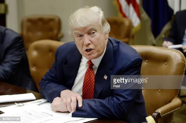 US President Donald Trump discusses the federal budget in the Roosevelt Room of the White House on February 22 2017 in Washington DC