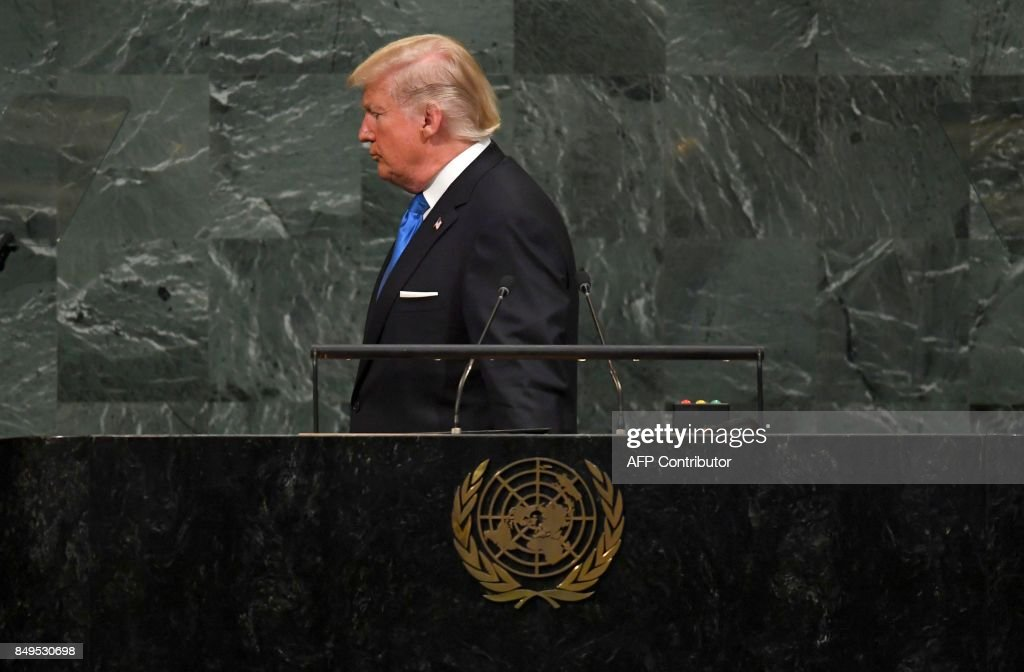 US President Donald Trump ends his address to the 72nd Annual UN General Assembly in New York on September 19, 2017.