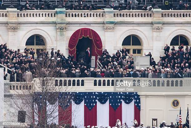 President Donald Trump enters the 2017 Presidential Inauguration on January 20 2017 in Washington DC