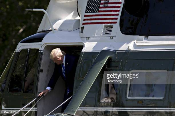 US President Donald Trump exits Marine One on the South Lawn of the White House in Washington DC US on Wednesday May 17 2017 Republican leaders were...